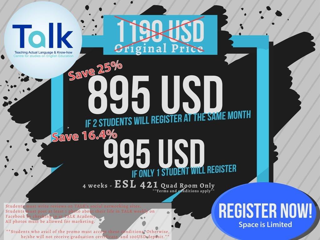 TALK: học bổng ưu đãi 2018 cho du học tiếng Anh Philippines