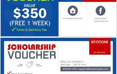 2 voucher giảm 1 tuần học phí + ký túc xá từ Trường Keystone – TP Subic
