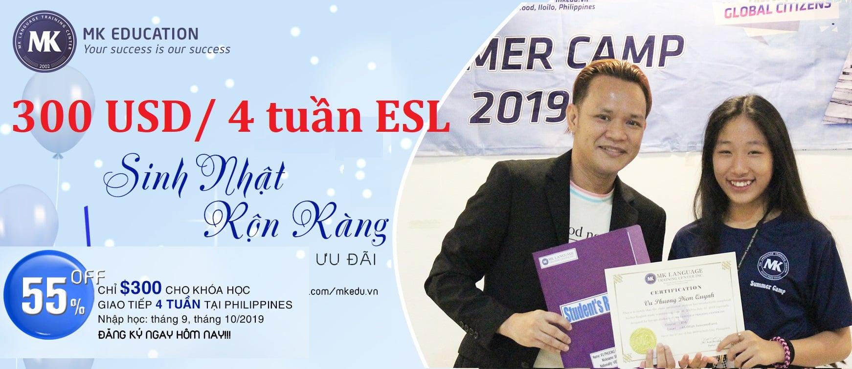 MK khóa ESL chỉ còn 300 USD/ 4 tuần