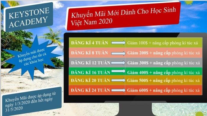 khuyến mãi du học tiếng anh philippines keystone 2020