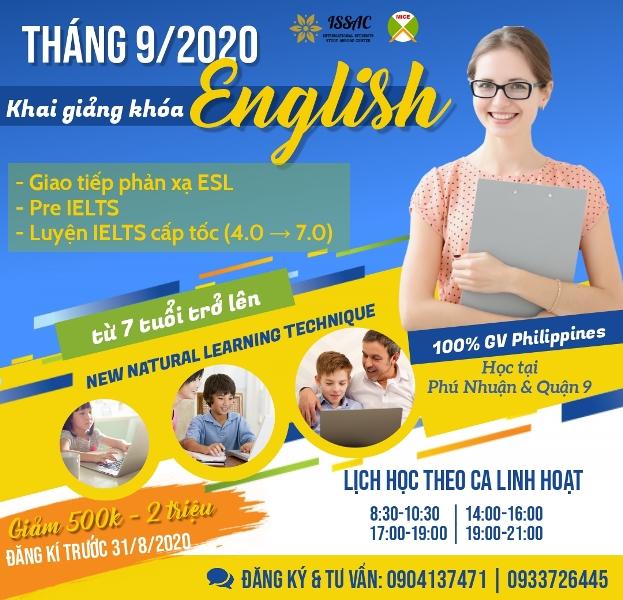 Khóa học tiếng Anh giao tiếp, IELTS tại HCM với 100% gv Philippines